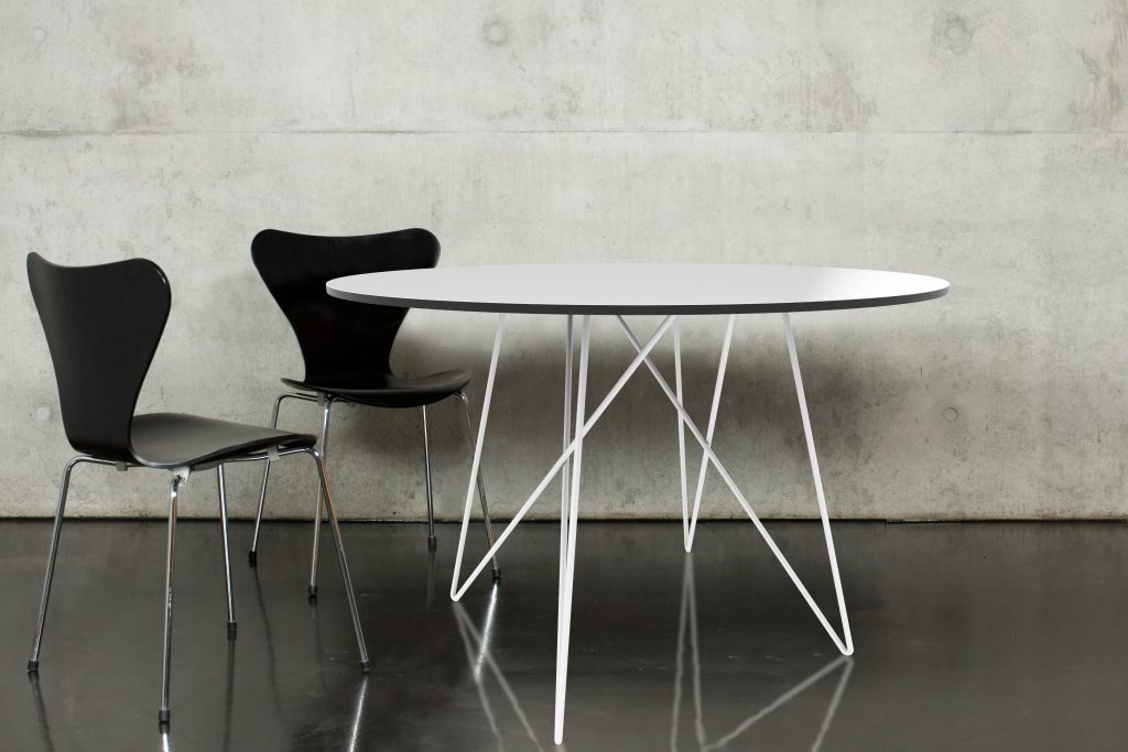 Tisch rund HPL weiss
